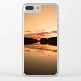Beautiful sunset - glowing orange - forest silhouette and reflection Clear iPhone Case