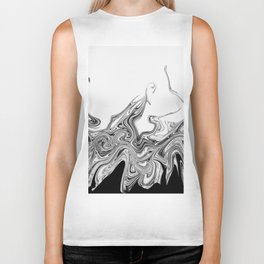 Modern contemporary Black and White Abstract Biker Tank
