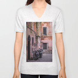 Motorbikes on the Streets of Rome, Italy Unisex V-Neck