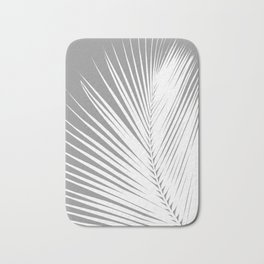 Large Palm Leaf, Grey / Gray and White Bath Mat