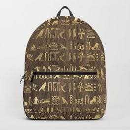 Brown & Gold Ancient Egyptian Hieroglyphic Script Backpack