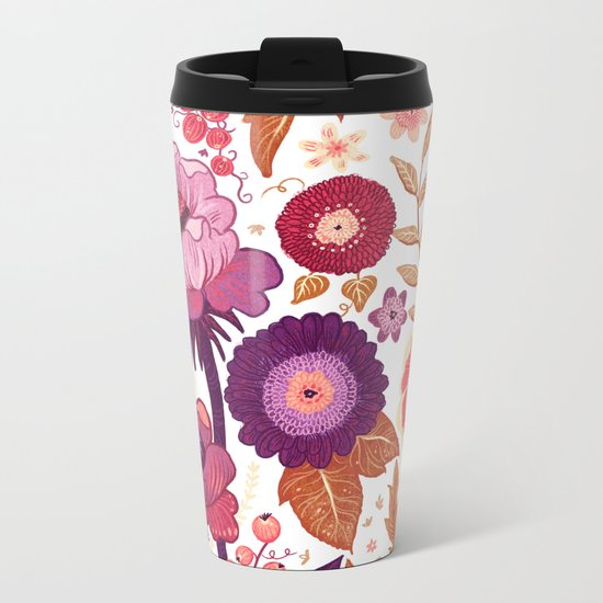 Purple Flowers Metal Travel Mug