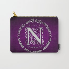 Joshua 24:15 - (Silver on Magenta) Monogram N Carry-All Pouch