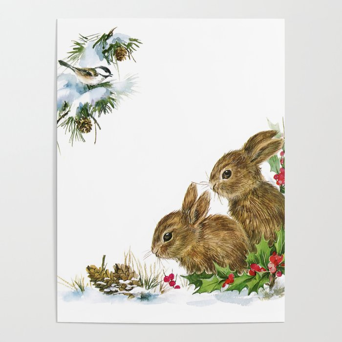 Winter in the forest - Animal Bunny Illustration Poster