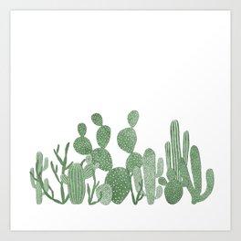 Green cactus garden on white Art Print