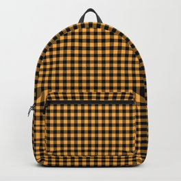 Bright Chalky Pastel Orange and Black Buffalo Check Backpack