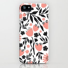 Floral Pattern Dark Gray and Light Coral iPhone Case