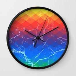 Grunge rainbow rhombs Wall Clock