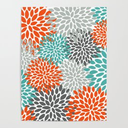 Floral Pattern, Abstract, Orange, Teal and Gray Poster