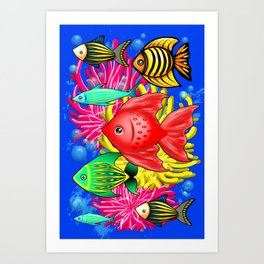 Fish Cute Colorful Doodles Art Print