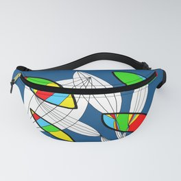 4 colors Organic objects on Blue Fanny Pack