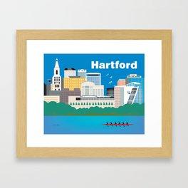 Hartford, Connecticut - Skyline Illustration by Loose Petals Framed Art Print