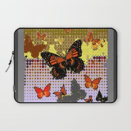 Abstracted Black & Orange Monarch Butterflies Grey Art Laptop Sleeve