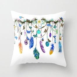 Folkestone Feather, Crystal And Butterfly Spirit Gazer Throw Pillow