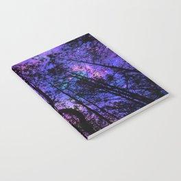 Black Trees Purple Fuchsia Blue space Notebook