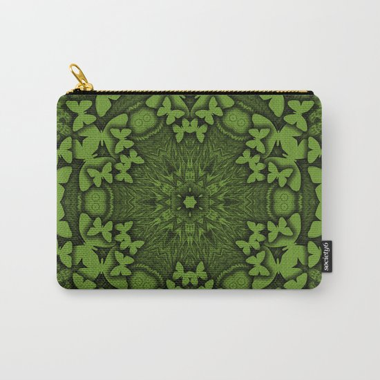 Butterfly kaleidoscope in green Carry-All Pouch