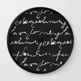 Doodles Letters Black Wall Clock