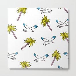 seagulls and palm trees Metal Print