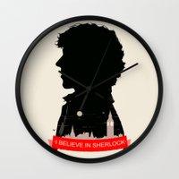 sherlock Wall Clocks featuring Sherlock by Duke Dastardly