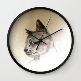 Pet Cat In Pencil Wall Clock