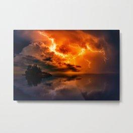 Storm at sunset Metal Print