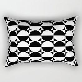 Mid Century Modern Half Circles Pattern Black and White Rectangular Pillow