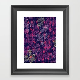 chalk flowers Framed Art Print