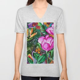Etude with Tropical Flowers Unisex V-Neck