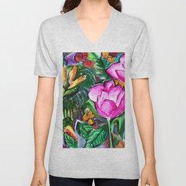 Etude with Tropical Flowers Unisex V-Neck