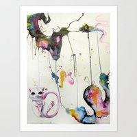 mew Art Prints featuring Mew by Shannon Gordy