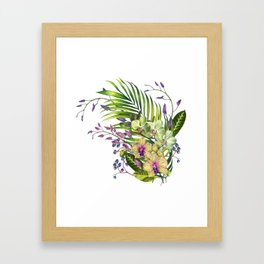 Bouquet, Orchid, Bud, Leaf Clipart, watercolor, handpainted, floral, flower, design, style, troical Framed Art Print