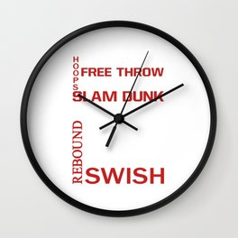 Basketball Descriptive Funny Sports Vintage T-shirt Wall Clock
