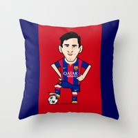messi Throw Pillows featuring Lio Messi - Barcelona v2 by softdelusion
