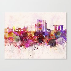 Singapore V2 skyline in watercolor background Canvas Print