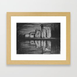 Temple of Debod, Madrid, reflected in the water, drawing illustration. Framed Art Print