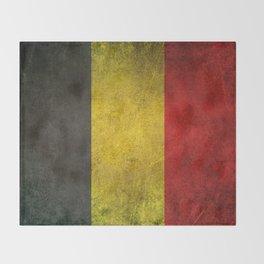 Old and Worn Distressed Vintage Flag of Belgium Throw Blanket