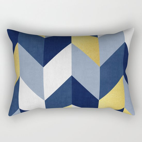 Blue and gold lozenges rectangular pillow by art7decor for Blue and gold pillows
