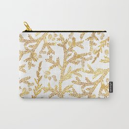 Modern faux gold glitter white elegant floral pattern Carry-All Pouch