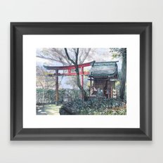 Shiratamainari shrine in watercolours Framed Art Print