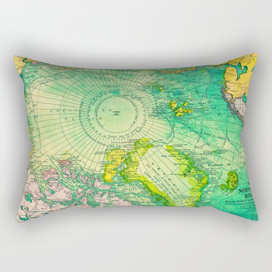 Colorful Map of the North Pole - Vintage Rectangular Pillow