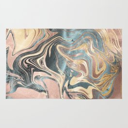 Liquid Gold and Rose Gold Marble Rug