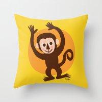 monkey Throw Pillows featuring Monkey by BATKEI