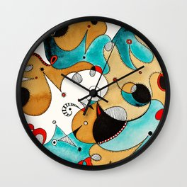 Abstract Tea Critters Wall Clock