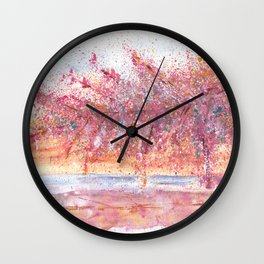 Pink Abstract Landscape Illustration Wall Clock