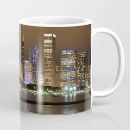 Beautiful river side city view in the night with colorful lights and tall buildings Coffee Mug