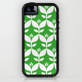 Grass green retro tulip floral iPhone Case
