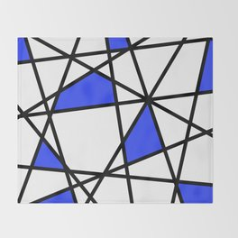 Geometric Modern triangles - white blue Throw Blanket