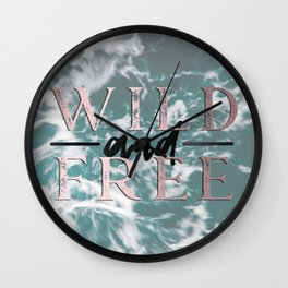 Wild and Free Waves in Rose Gold Wall Clock