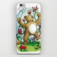 Bear and butterfly iPhone & iPod Skin