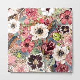 Boho Flowers Pattern Metal Print